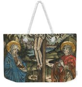 Christ On The Cross With Mary And Saint John Weekender Tote Bag by German School