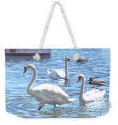 Christchurch Harbour Swans And Boats Weekender Tote Bag by Martin Davey