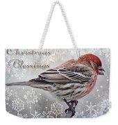 Christmas Blessings Finch Greeting Card Weekender Tote Bag