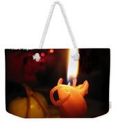 Christmas Candle Greeting Weekender Tote Bag