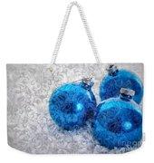 Christmas Card With Vintage Blue Ornaments Weekender Tote Bag