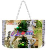 Christmas Carousel Horse With Pine Branch Weekender Tote Bag