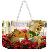Christmas Carousel Horse With Poinsettias Weekender Tote Bag