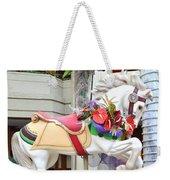Christmas Carousel White Horse Weekender Tote Bag