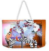 Christmas Carousel Zebra Weekender Tote Bag
