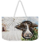 Christmas Cow - Oh To Have Been There... Weekender Tote Bag by Eloise Schneider