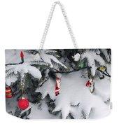 Christmas Decorations On Snowy Tree Weekender Tote Bag