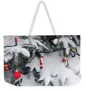 Christmas Decorations On Snowy Tree Weekender Tote Bag