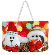 Christmas Dog And Penguin Weekender Tote Bag