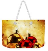 Christmas Glass Balls On Winter Gold Background Weekender Tote Bag