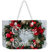 Christmas Greetings Door Wreath Weekender Tote Bag