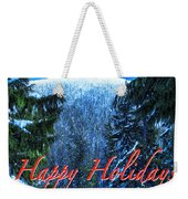 Christmas Holidays Scenic Snow Covered Mountains Looking Through The Trees  Weekender Tote Bag