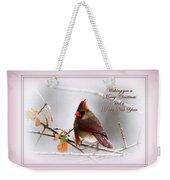 Christmas In Pink - Cardinal Christmas Weekender Tote Bag