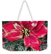 Christmas Poinsettia Weekender Tote Bag