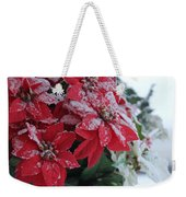 Christmas Poinsettia Flowers Weekender Tote Bag