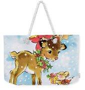 Christmas Reindeer And Rabbit Weekender Tote Bag