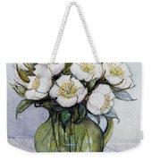 Christmas Roses Weekender Tote Bag by Gillian Lawson
