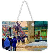 Christmas Shoppers Ogilvys Enchanted Village Window Display A Montreal Xmas Tradition Carole Spandau Weekender Tote Bag