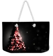 Christmas Tree Shining On Black Background Weekender Tote Bag