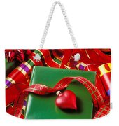 Christmas Wrap With Heart Ornament Weekender Tote Bag