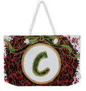 Christmas Wreath Initial C Weekender Tote Bag