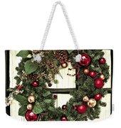 Christmas Wreath On Black Door Weekender Tote Bag