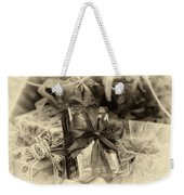 Christmasgift Under The Tree In Sepia Weekender Tote Bag