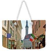Church At End Of Street In Old Town Tallinn-estonia Weekender Tote Bag