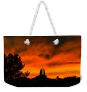 Church Cross Lit By Tucson Sunset Weekender Tote Bag