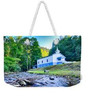 Church In The Mountains By The River Weekender Tote Bag