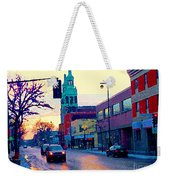 Church Street In Winter Melting Snow Sunset Reflections Montreal Urban City Landscape Scene Cspandau Weekender Tote Bag