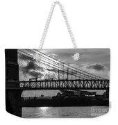 Cincinnati Suspension Bridge Black And White Weekender Tote Bag by Mary Carol Story