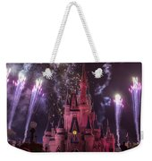 Cinderella's Castle With Fireworks Weekender Tote Bag by Adam Romanowicz