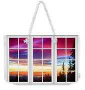 City Lights Sunrise View Through White Window Frame Weekender Tote Bag
