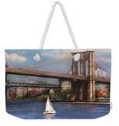 City - Ny - Sailing Under The Brooklyn Bridge Weekender Tote Bag