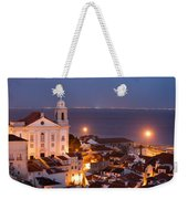 City Of Lisbon In Portugal At Night Weekender Tote Bag