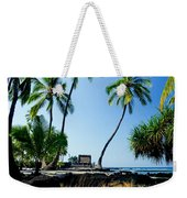 City Of Refuge - A View Of A Hawaiian Traditional House  Weekender Tote Bag