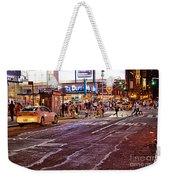 City Scene - Crossing The Street - The Lights Of New York Weekender Tote Bag