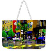 City Street Relections In The Rain Quebec Art Colors And Seasons Montreal Scenes Carole Spandau Weekender Tote Bag