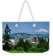 City With Mt. Hood In The Background Weekender Tote Bag
