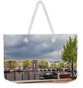 Cityscape Of Amsterdam In The Netherlands Weekender Tote Bag