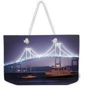 Claiborne Pell Bridge At Night Weekender Tote Bag