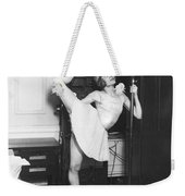 Clair Luce Exercising On Radio Weekender Tote Bag