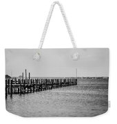 Classic Black And White Pier Scene Weekender Tote Bag