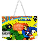 Classic Comic Book Cover - Silver Streak Comics Captain Battle - 0250 Weekender Tote Bag by Wingsdomain Art and Photography