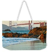 Classic - World Famous Golden Gate Bridge With A Scenic Beach And Birds. Weekender Tote Bag