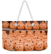 Clay Pumpkins Standing Happy Near The Wood Fence Weekender Tote Bag