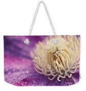 Clematis-macro Photograph Of A Purple Clematis Weekender Tote Bag