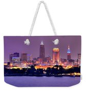 Cleveland Skyline At Night Evening Panorama Weekender Tote Bag