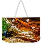 Cliff Rocks And Waterfall Weekender Tote Bag